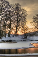 Preview iPhone wallpaper Winter snow, nature landscape, river, trees, dusk