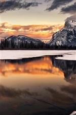 Preview iPhone wallpaper Winter, snow, sunset, mountain, lake, reflection, trees