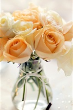 Preview iPhone wallpaper Yellow flowers, rose, vase, bouquet