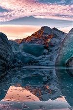 iPhone обои Аляска, озеро, лед, небо, горы, зима