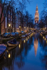 Preview iPhone wallpaper Amsterdam, Holland, houses, boat, river, night