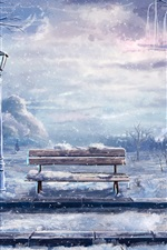 Art pintura, inverno, neve, banco, lanterna, árvores