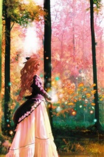 Preview iPhone wallpaper Art pictures, forest, girl, trees, magic, colorful