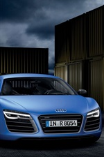 Preview iPhone wallpaper Audi R8 V10 B10, blue, silver, supercar