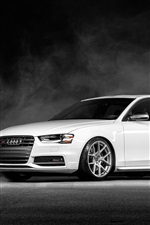 Preview iPhone wallpaper Audi S4 Vorsteiner white car front view