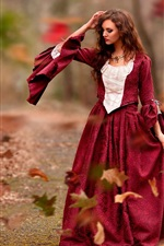Preview iPhone wallpaper Autumn, leaves, red dress girl, wind