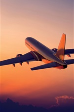 Preview iPhone wallpaper Aviation, aircraft, flight, sunrise, clouds, sky