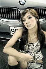 Preview iPhone wallpaper BMW 5 series car, asian girl