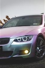 iPhone fondos de pantalla BMW E92 M3 coche de color rosa al atardecer