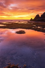 Preview iPhone wallpaper Bali, Indonesia, coast, sunset, red sky