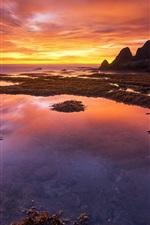 Bali, Indonesia, coast, sunset, red sky