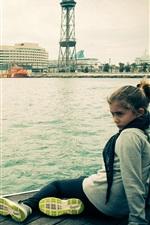 Preview iPhone wallpaper Barcelona girl, dock, city