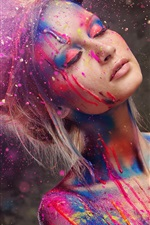 Preview iPhone wallpaper Beautiful girl, fashion style, paint, colorful