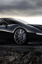 Black concept car, race car, mountain, dusk