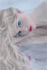 Preview iPhone wallpaper Blonde girl, face, red lips, white dress, lying bed