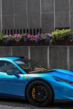 Preview iPhone wallpaper Blue Ferrari 458 Italia Hamann supercar