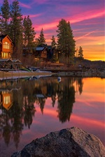Preview iPhone wallpaper California, USA, Tahoe Lake, sunset, rocks, trees, houses