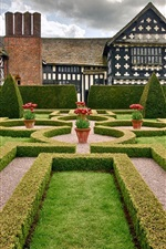 Cheshire, England, mansion, park, garden, trees, shrubs, flowers