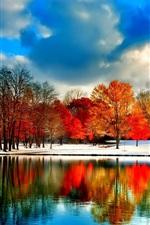 iPhone壁紙のプレビュー 雲、川、雪、木々、秋