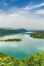 Preview iPhone wallpaper Debarsko Lake, Macedonia, forest, sky