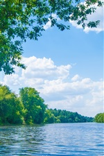 Preview iPhone wallpaper England, River Lune, trees, blue sky, clouds