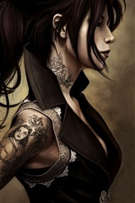 Preview iPhone wallpaper Fantasy girl, tattoo, tight clothing, hairstyle