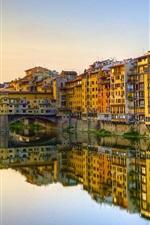 Preview iPhone wallpaper Florence, Italy, Arno River, Vasari Corridor, buildings, houses