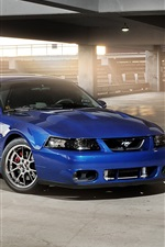 Preview iPhone wallpaper Ford Mustang blue car, building, sunlight