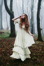 Preview iPhone wallpaper Forest, white dress girl, morning fog