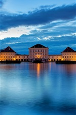 Germany, Bavaria, Munich, city, river, castle, blue, night