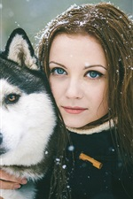 Girl with dog, winter