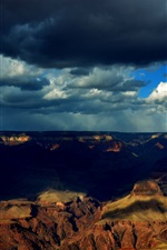 Preview iPhone wallpaper Grand Canyon, clouds, shadows, dusk