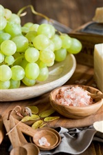Preview iPhone wallpaper Green grapes, cheese, salt, spoons, leaves