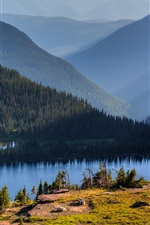 Preview iPhone wallpaper Hidden Lake, Banff National Park, Alberta, Canada, sky, mountains, trees
