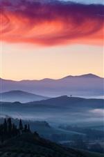 Italy, dawn, mist, fields, sky, clouds