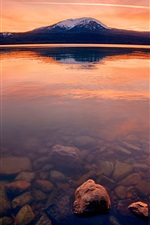 Preview iPhone wallpaper Lake, red sky, rocks, mountain, dusk