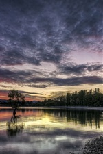 Preview iPhone wallpaper Lake, sunset, dusk, trees, sky, clouds