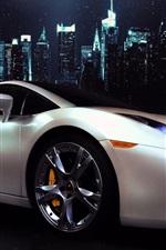 Lamborghini Gallardo white supercar side view, city, night