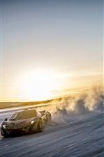 McLaren P1 supercar, speed, dust, sunset