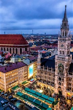 Munich, Germany, city, night, buildings, lights