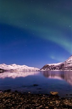 Preview iPhone wallpaper Norway, northern lights, winter, night, Tromso Fjord
