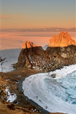 Preview iPhone wallpaper Russia, Baikal, morning, dawn, sunrise, winter