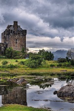 Scotland, river, bridge, castle, grass, rocks, clouds