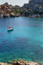 Preview iPhone wallpaper Sea, bay, boat, shore, rocks, Cala Spinosa, Italy
