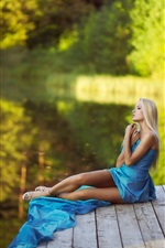 Preview iPhone wallpaper Summer, blue dress girl, legs, dreams, water, green bokeh