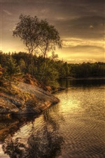 Preview iPhone wallpaper Sweden, lake, evening, trees