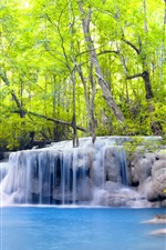 Preview iPhone wallpaper Trees, waterfalls, forest, river, summer