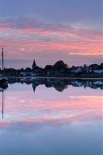 Preview iPhone wallpaper UK, England, town, evening, sunset, houses, lake, boat, water