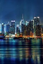 Preview iPhone wallpaper United States, New Jersey, Union Hill, New York City, buildings, lights