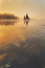 Preview iPhone wallpaper Vuoksi River, Russia, autumn, trees, sunrise, mist